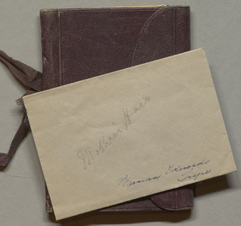 Billfold of Alfred King Tripe with clipping of his Mother's hair