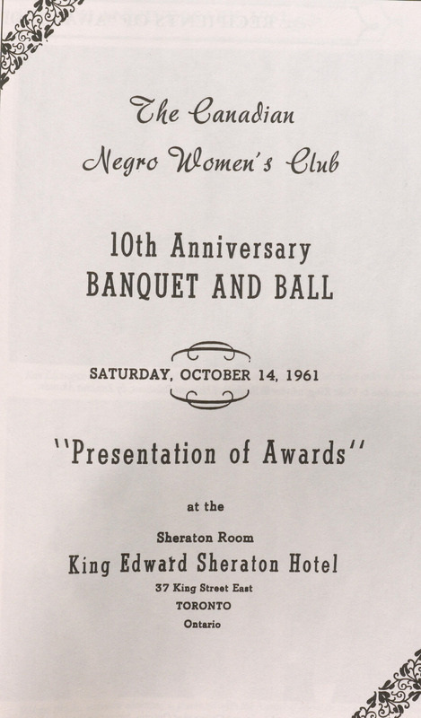 Facsimile of poster for the 10th Anniversary Banquet and Ball for the Canadian Negro Women's Club