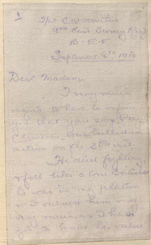 Letter from Clement W. Hawter to Elizabeth Jane Clements on the death of her son