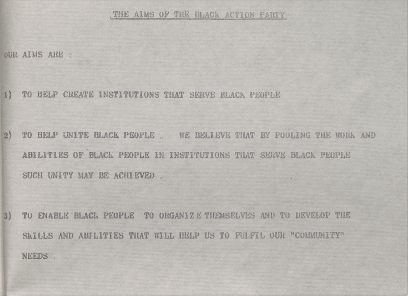 The Black Action Party [Incorporation, Progress and Aims]