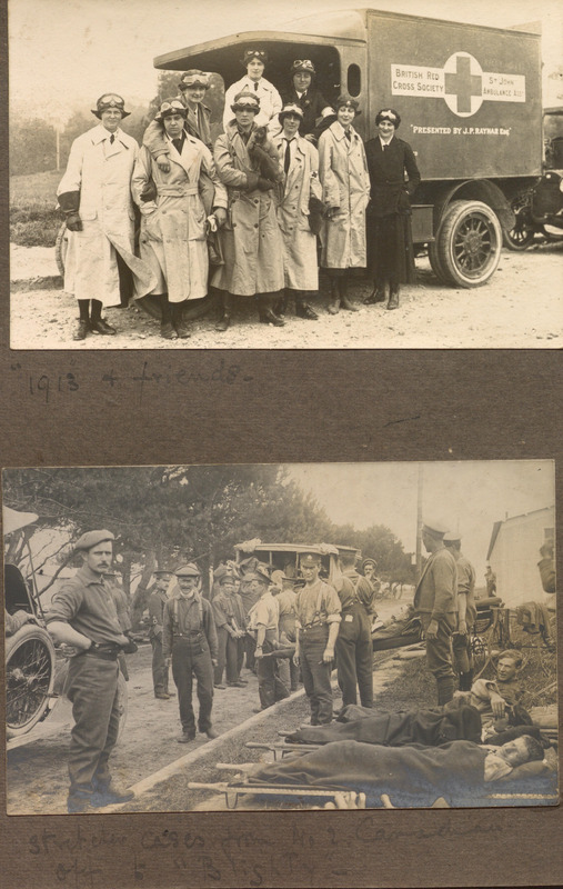 Photographs of women ambulance drivers and wounded Soldiers preparing for transport