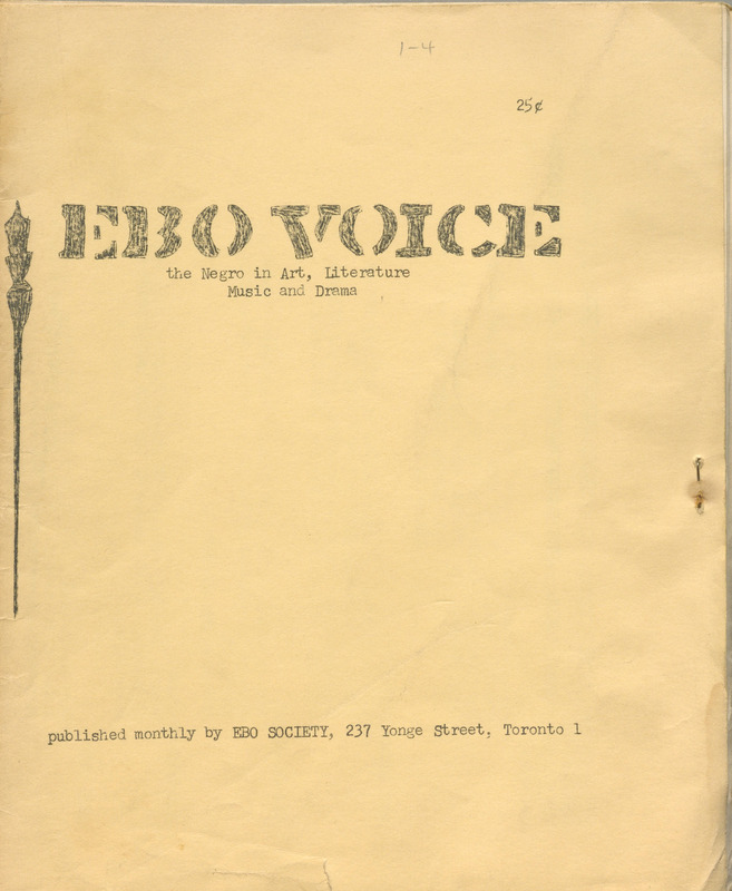 Ebo Voice: The Negro in Art, Literature, Music and Drama