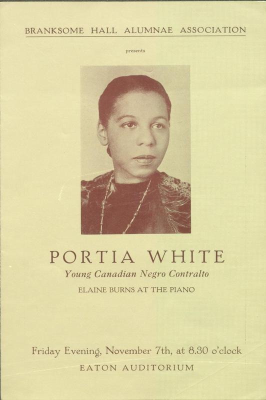 [Portia White performance at Eaton Auditorium<br /> Toronto, Ontario, programme]