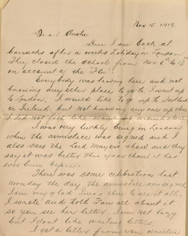 Letter from Harry Richardson to his sister, Austin Richardson Ferris