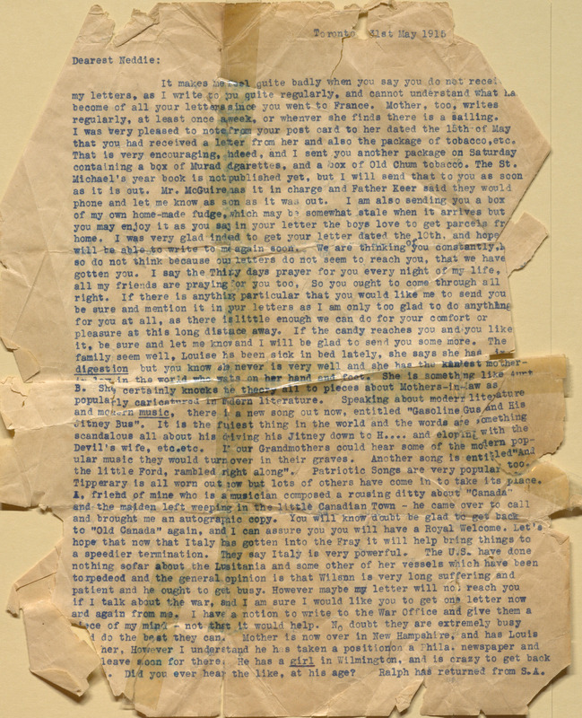 """Letter from [Alma Keemlé] to her brother, Charles Edmund """"Ned"""" Keemlé"""