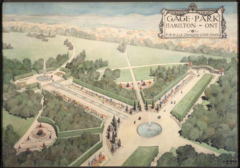 Water-colour design for Gage Park, Hamilton, 1927.