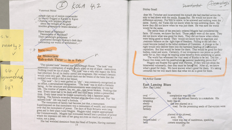 Editorial proofs for Kola with handwritten annotations