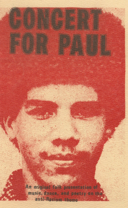 Programme for Concert for Paul: An Original Folk Presentation of Music, Dance, and Poetry on the Anti-Racism Theme