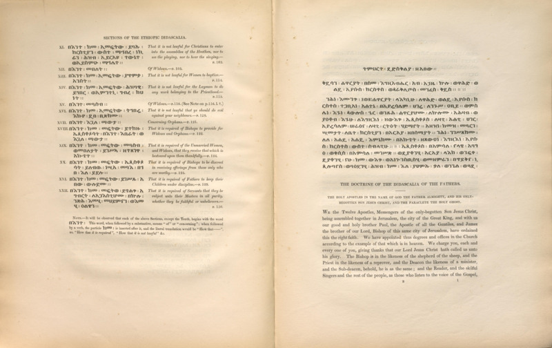 The Ethiopic Didascalia, or, The Ethiopic version of the Apostolical constitutions, received in the church of Abyssinia with an English translation