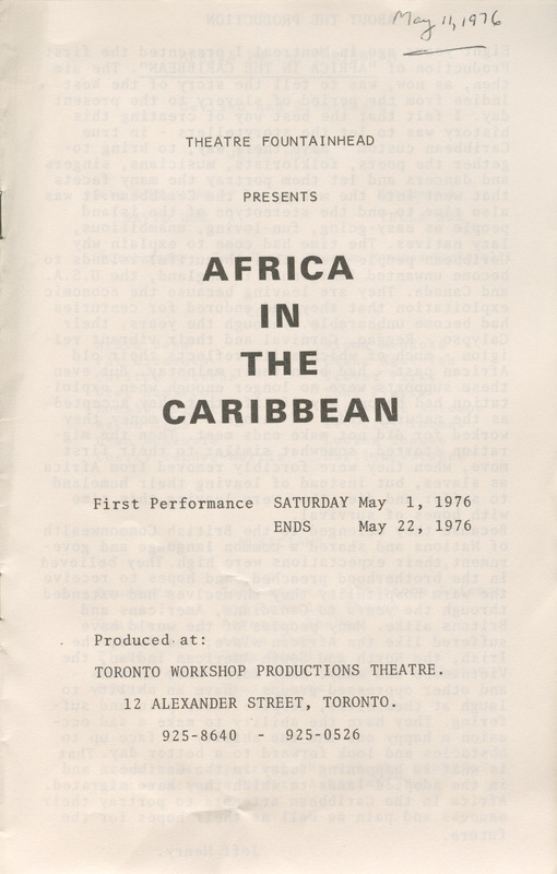 Playbill for Africa in the Caribbean