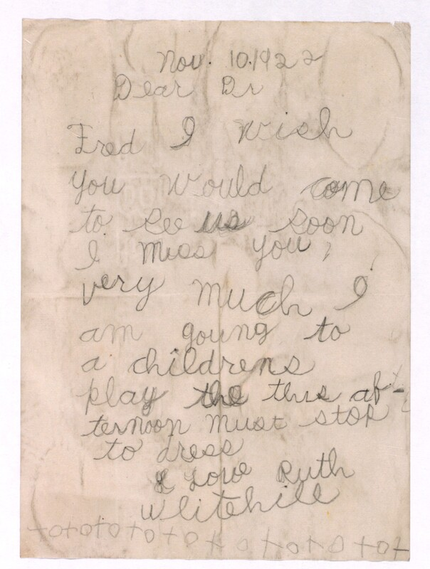 Letter to Dr. Fred 10/11/1922
