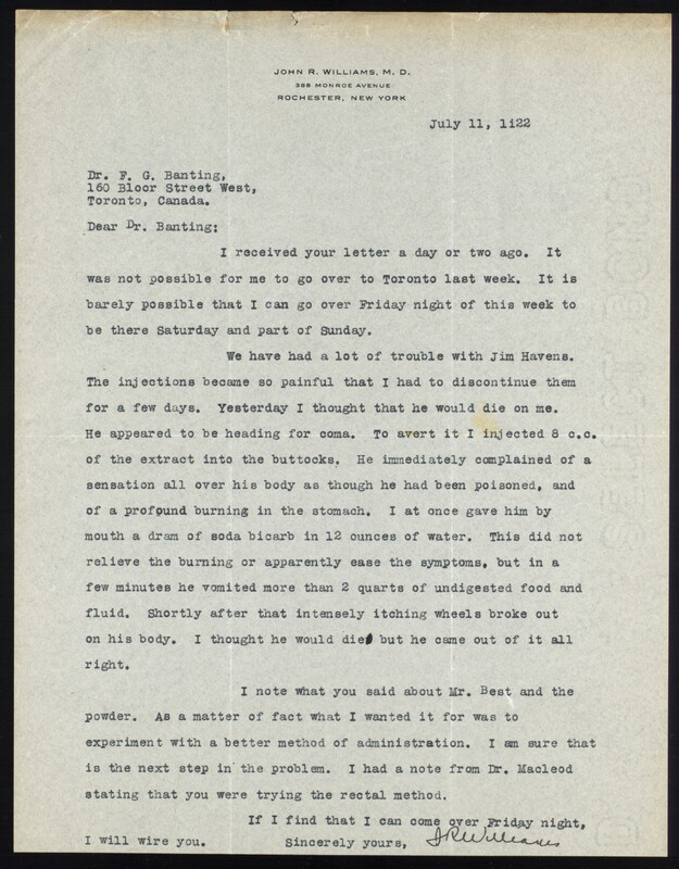 Letter to F. G. Banting 11/07/1922