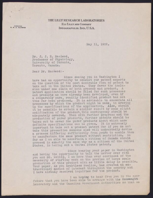 Letter to Dr. J. J. R. Macleod 11/05/1922