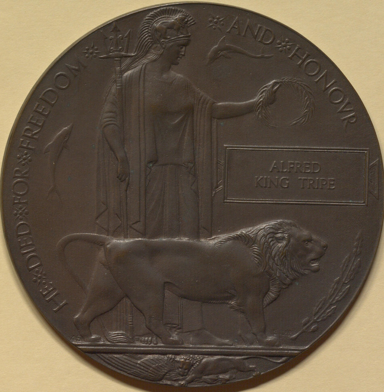 Memorial Plaque, aka the 'Dead Man's Penny' of Alfred King Tripe