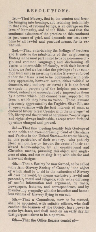 [Broadside on the Formation of the Anti-Slavery Society of Canada]