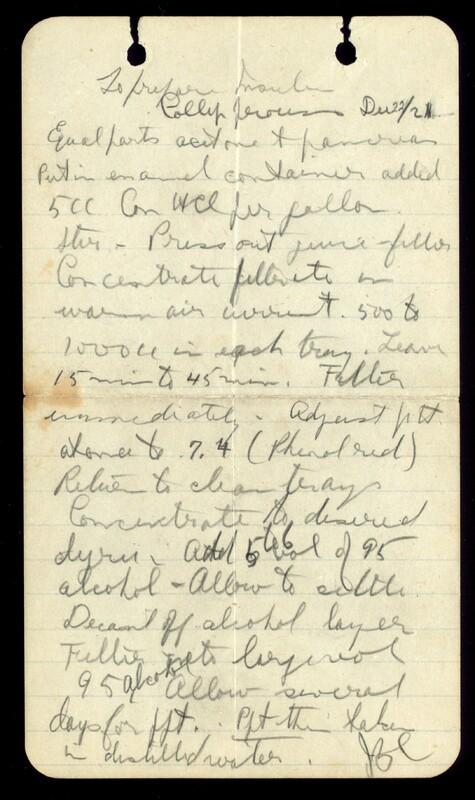 To prepare insulin. Collip process Dec. 22/21 [ie 1922]