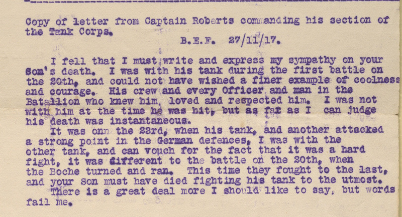 Copy of letters from Major Morgan (commanding 13th Company Tank Corps), Captain Roberts (commanding section of the 13th Company Tank Corps, and Colonel Burnett (commanding the Tank Corps) on the subject of the death of Alfred King Tripe