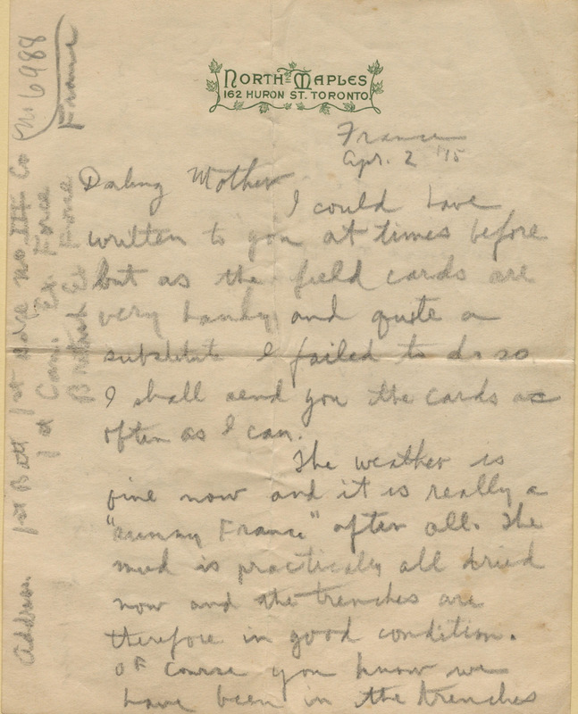 """Letter from Charles Edmund """"Ned"""" Keemlé to his mother, Josephine Keemlé"""