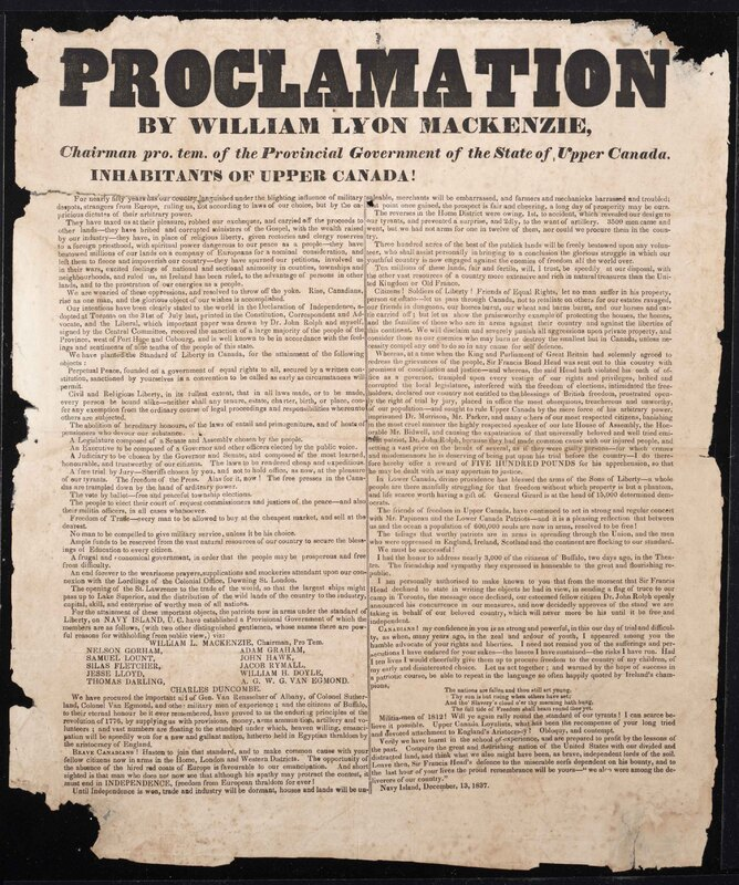 Proclamation by William Lyon Mackenzie, Chairman pro. tem. of the Provincial Government of the State of Upper Canada