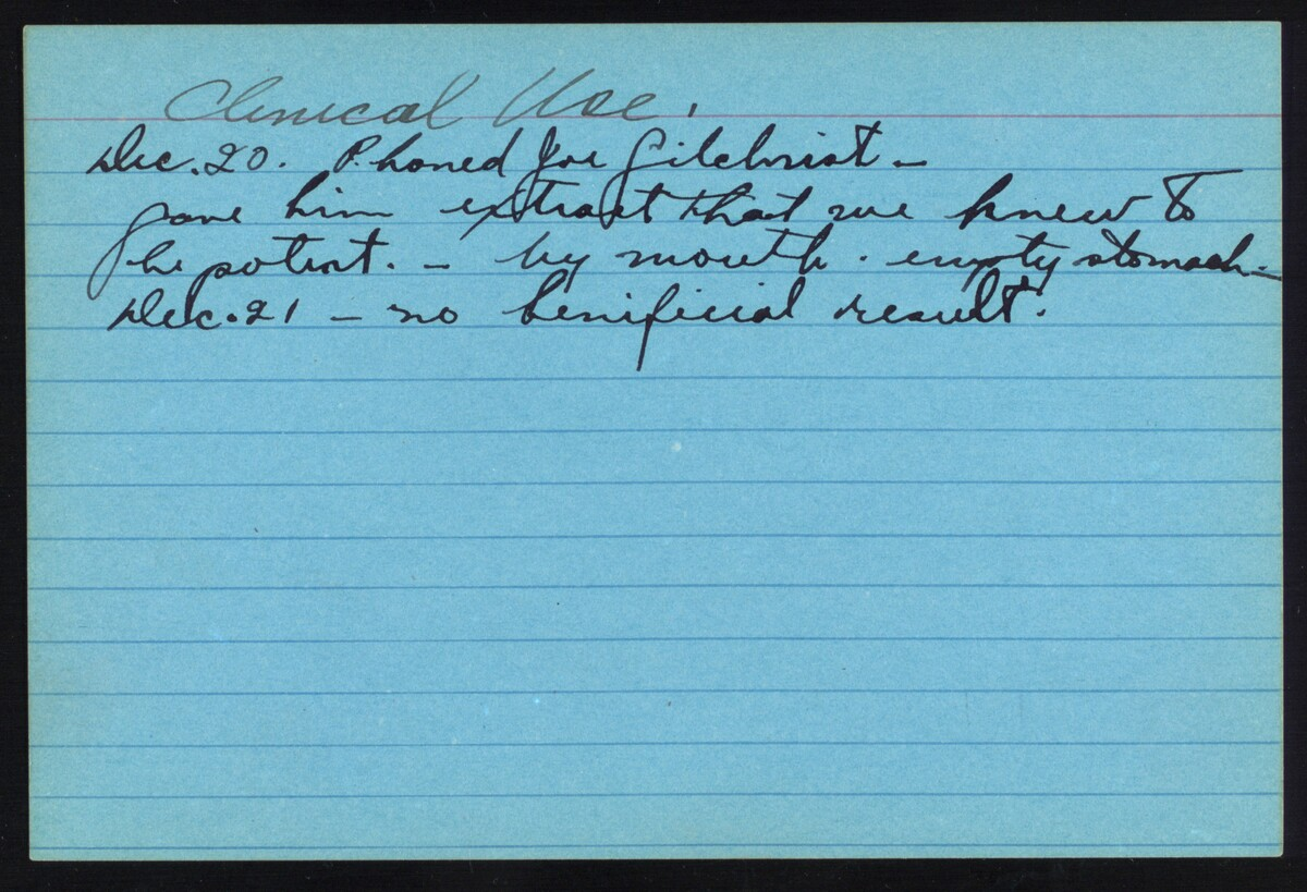 Note card recording the first clinical use of extract