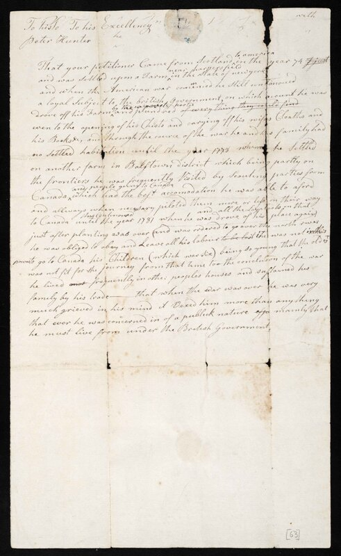 Partial Holograph Draft of a Petition by Alexander McLean to the Honourable Peter Hunter, Lieutenant-Governor of Upper Canada