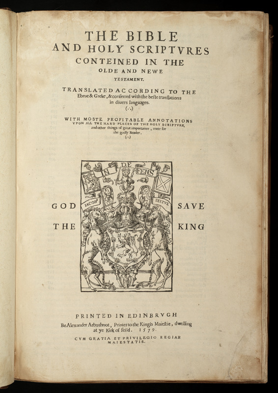 The Bible and Holy Scriptures conteined in the Olde and Newe Testament.