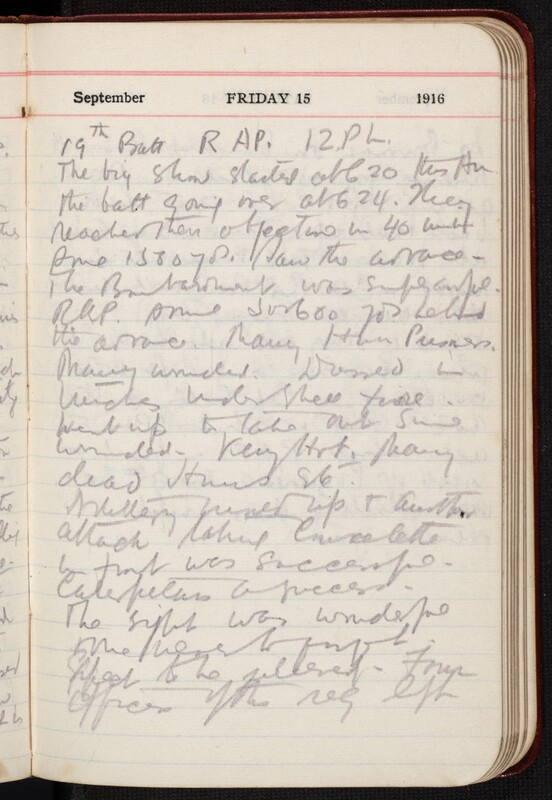 Diary entries written by Ronald Hugh Macdonald during the Battle of the Somme
