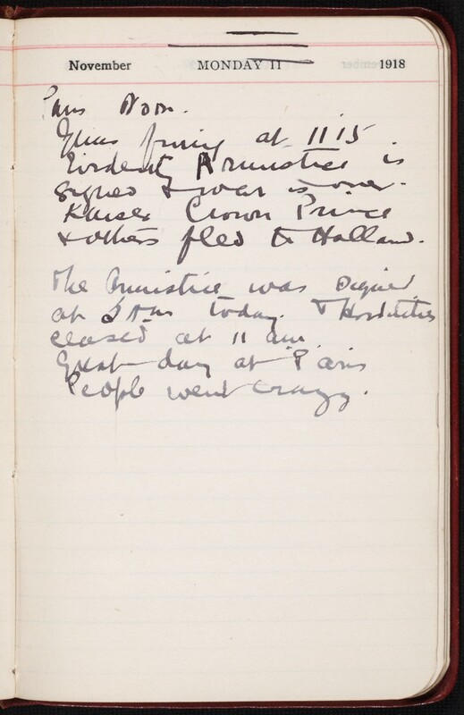 Diary entry written by Ronald Hugh Macdonald for Armistice Day