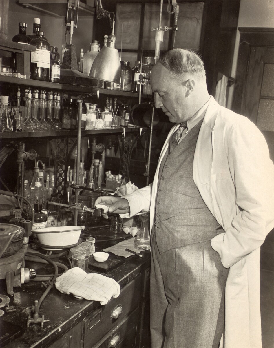 Photograph of C. H. Best in his laboratory, University of Toronto, June 1948.<br /> <br />