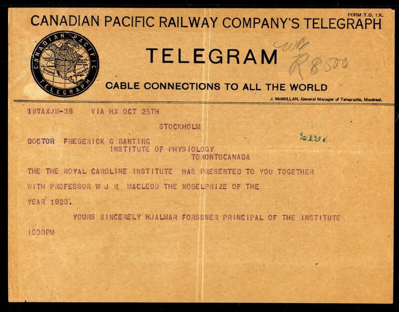 Telegram to Doctor Frederick G. Banting 25/10/1923