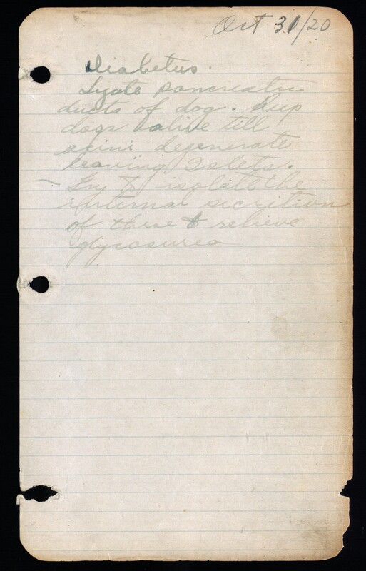 Page from Banting's notebook showing the first idea for his research.