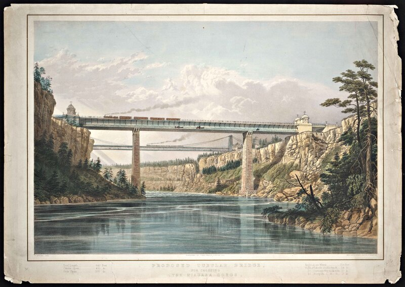 Proposed Tubular Bridge, for Crossing the Niagara Gorge [from Upper Canada to New York].