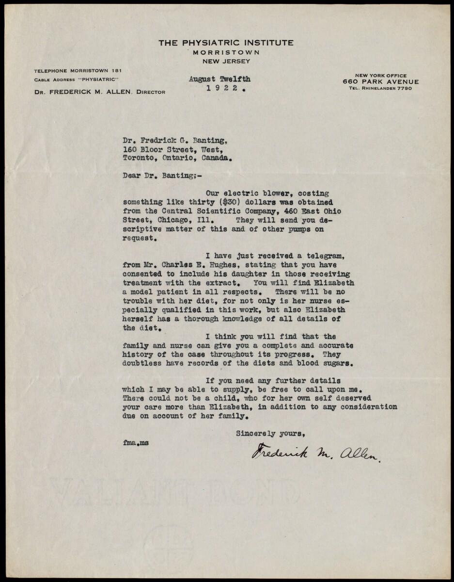 Letter to Dr. Fredrick G. Banting 12/08/1922