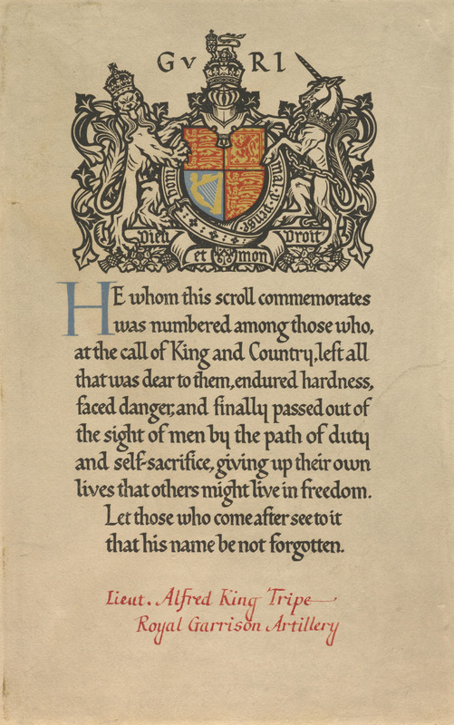 Commemorative Scroll for Alfred King Tripe