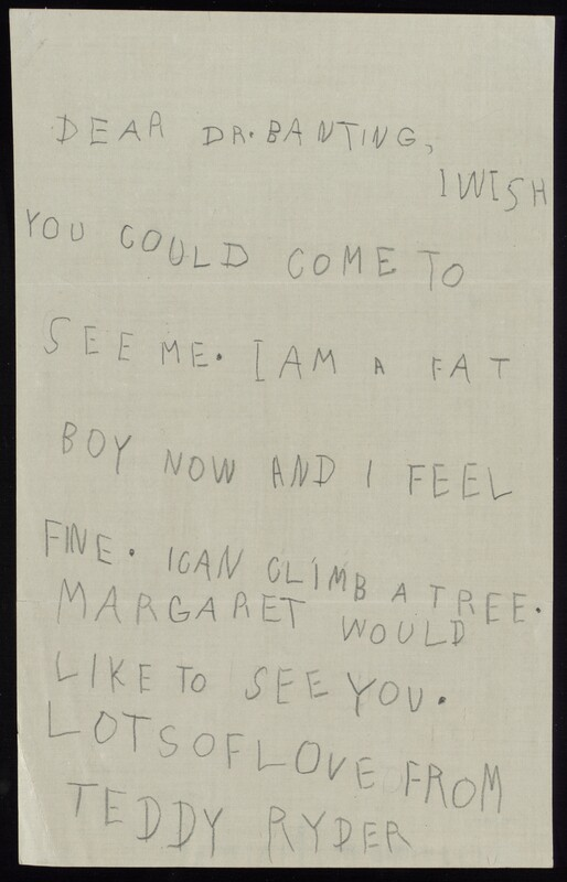 Letter to Dr. Banting ca. 1923