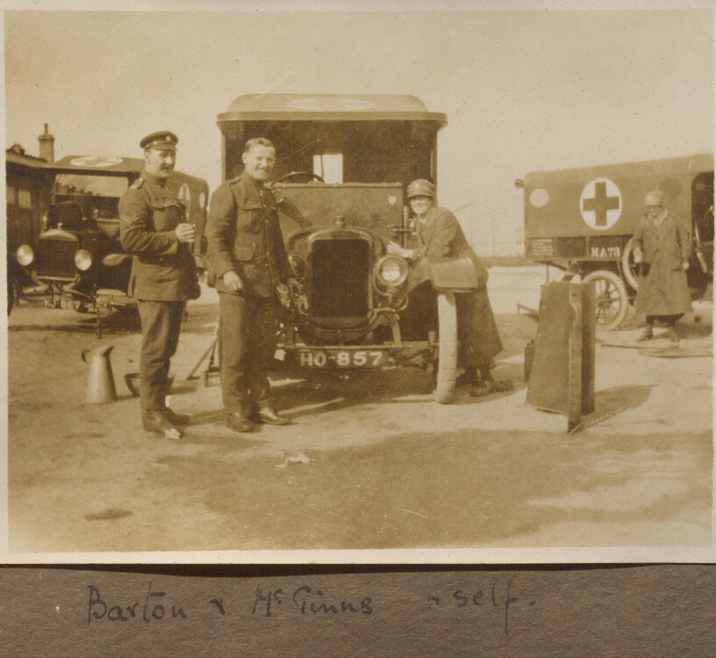 Photograph of Muriel Mina English with Barton and McGinns at Aldershot in 1916