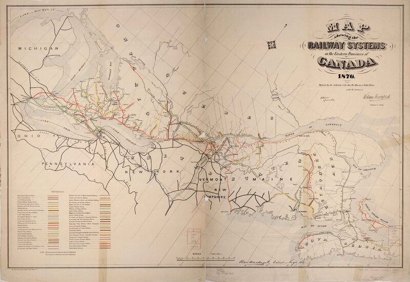 Map shewing the railway systems in the eastern provinces of Canada.