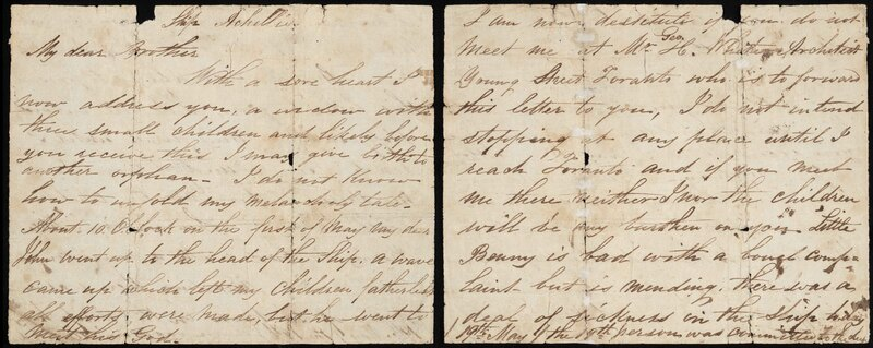 Mary Conlon. Letter to her Brother written on Board the Ship Achilles en route to Canada