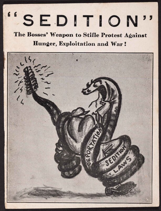 """Displaying """"Sedition"""", the bosses' weapon to stifle protest against hunger, exploitation, and war!"""