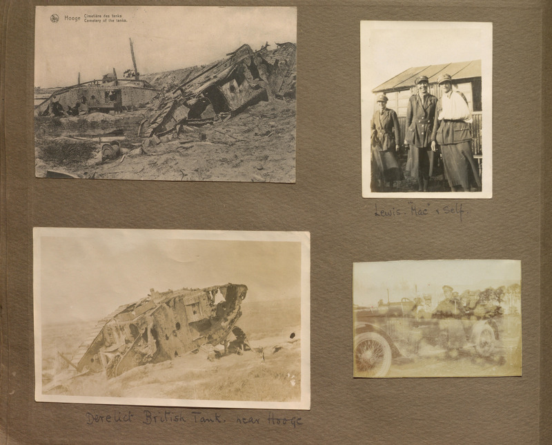 Photograph album page from Muriel Mina English's Battlefield Tour in the Summer of 1919