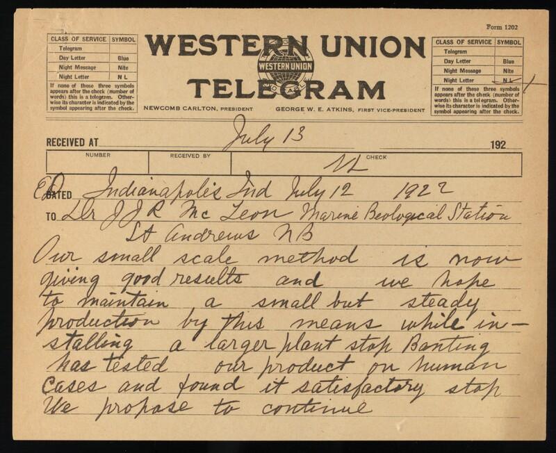Telegram to Dr. J. J. R. Macleod 12/07/1922