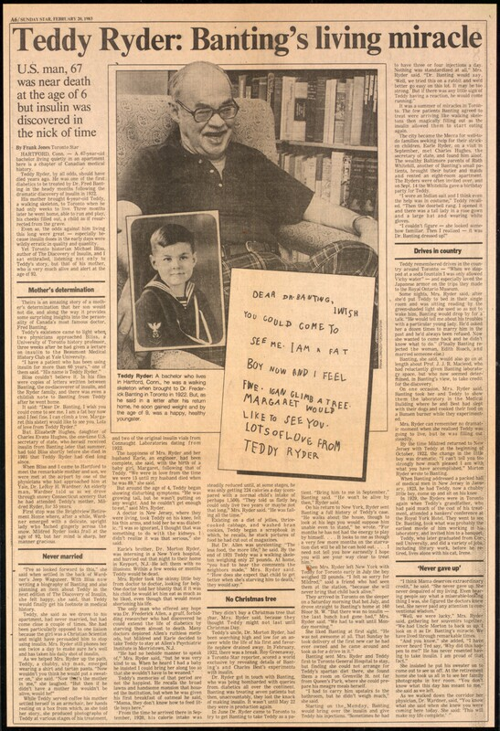 Teddy Ryder: Banting's living miracle