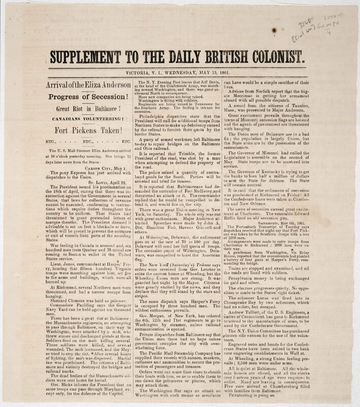 Supplement to the Daily British Colonist.