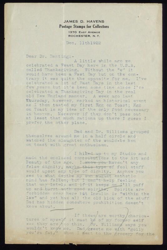 Letter to Dr. Banting 11/12/1922