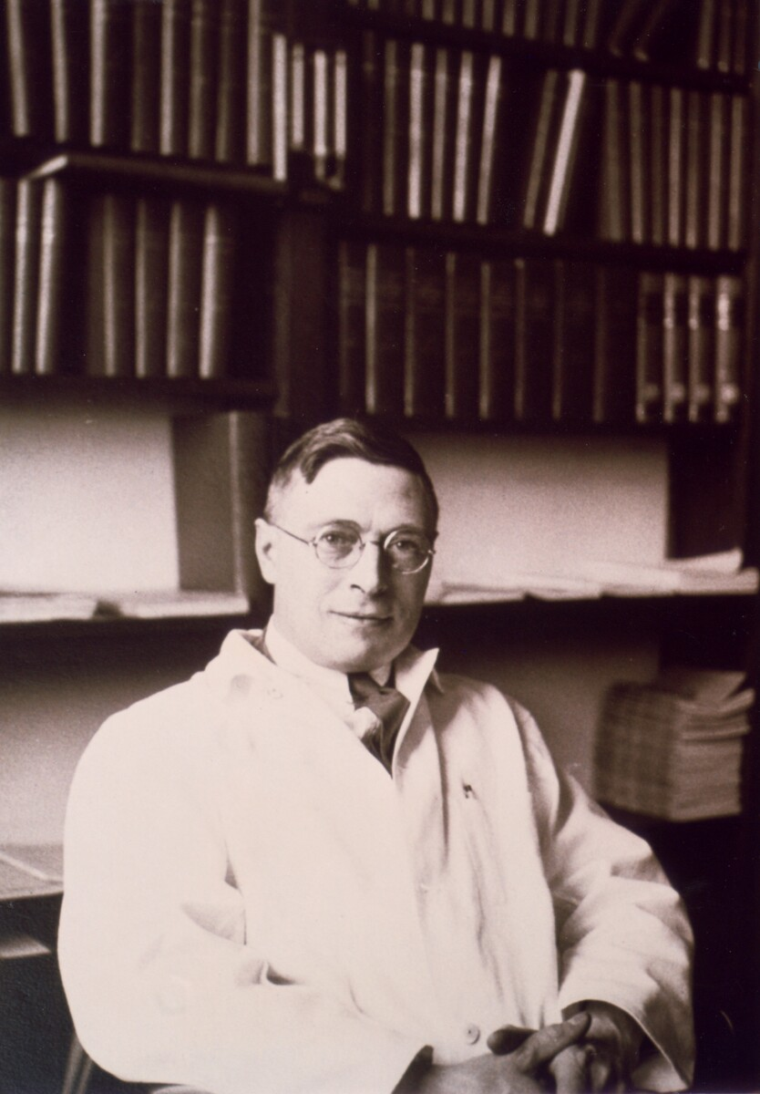 Photograph of J. B. Collip in his office at McGill University ca. 1930<br />