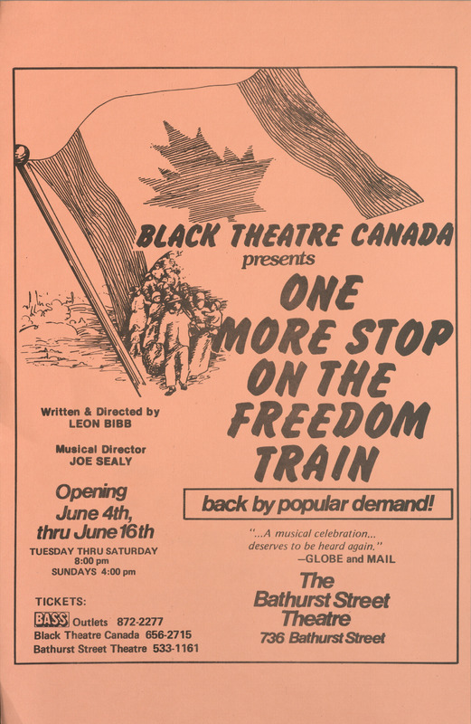 Poster for One More Stop on the Freedom Train presented by Black Theatre Canada