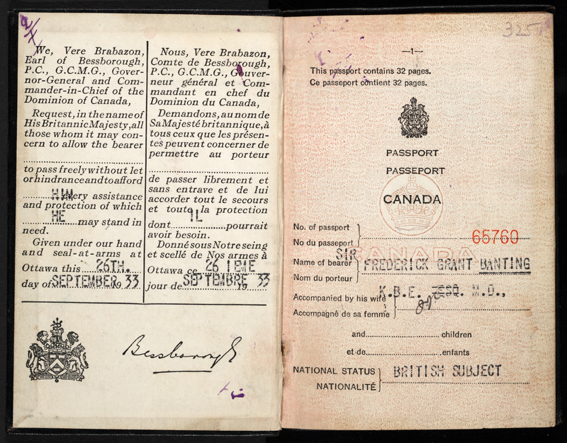 Passport of Dr. Frederick Banting