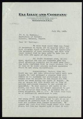 Letter to Dr. F. G. Banting 26/07/1922